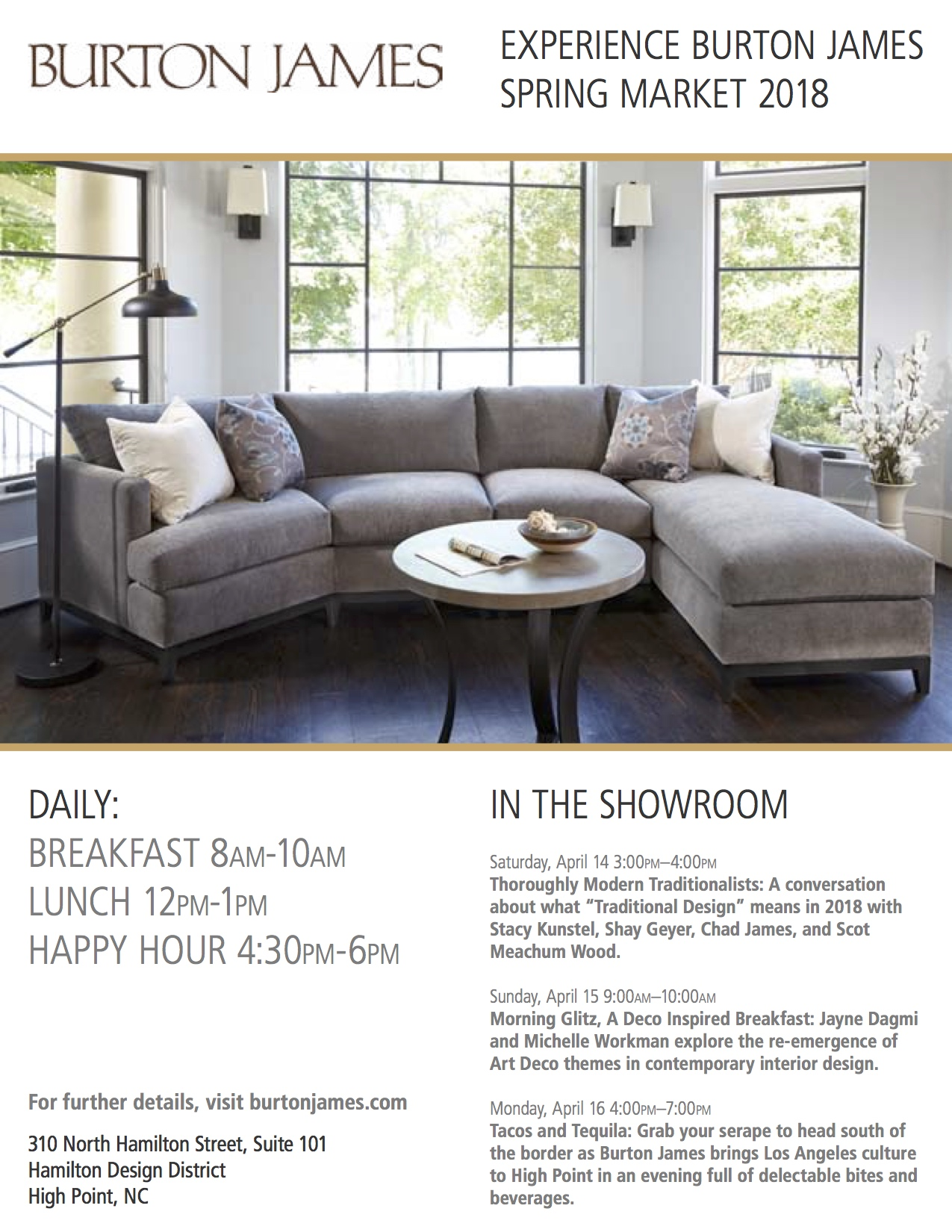 High Point Ready: Our Showroom Schedule. By Burton James